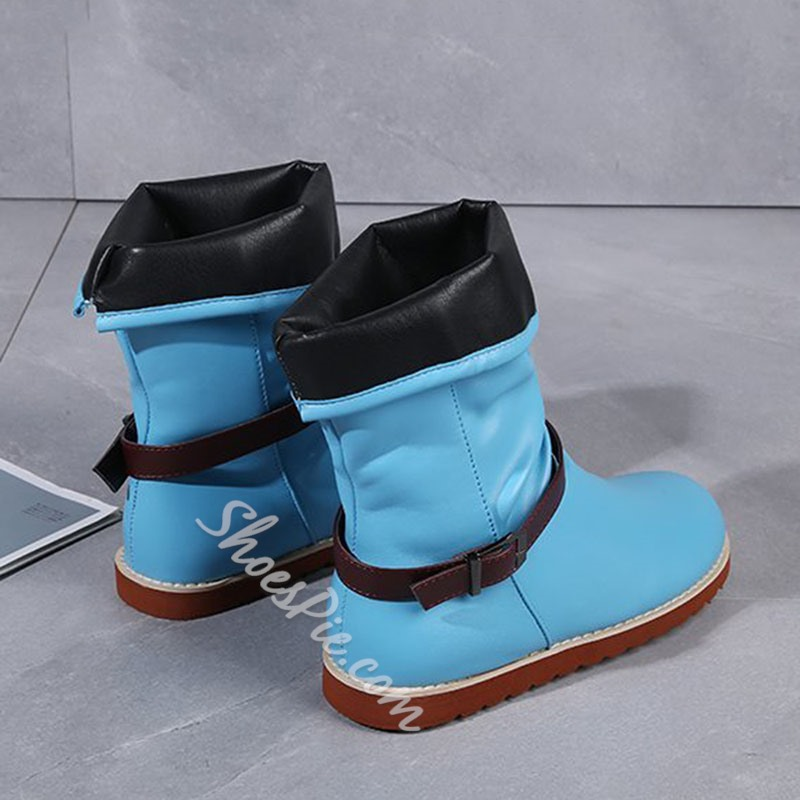 Shoespie Stylish Slip-On Round Toe Buckle Boots