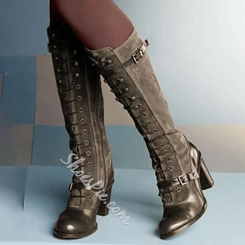 Shoespie Stylish Patchwork Round Toe Side Zipper PU Boots