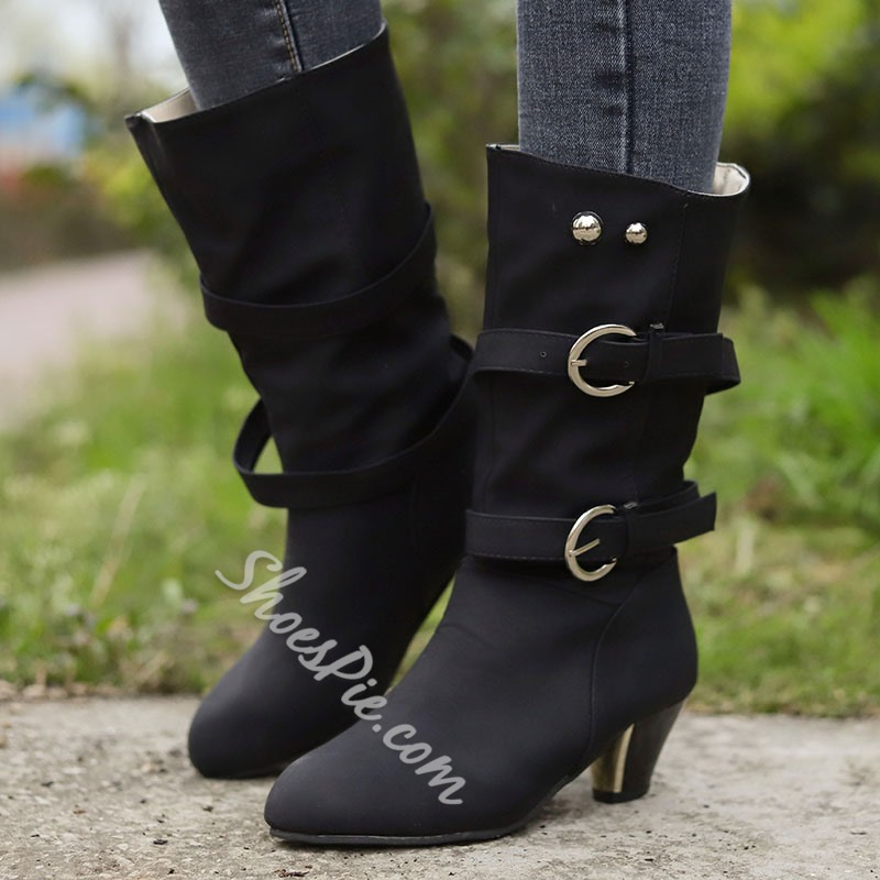 Shoespie Sexy Round Toe Chunky Heel Plain Western Boots