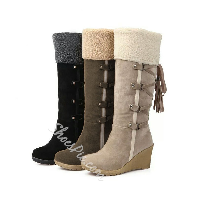 Shoespie Stylish Wedge Heel Round Toe Slip-On Fringe Boots