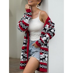 Christmas Single-Breasted Thin Patchwork Loose Women's Sweater