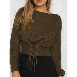 Lace-Up Thick Regular Standard Women's Sweater