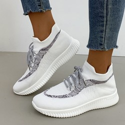 Shoespie Sexy Round Toe Slip-On Color Block Sneakers