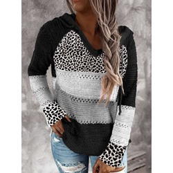 Leopard Color Block Patchwork Hooded Fall Women's Sweater