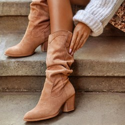 Shoespie Trendy Chunky Heel Pointed Toe Plain Cotton Boots
