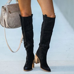 Shoespie Trendy Round Toe Plain Chunky Heel Western Boots