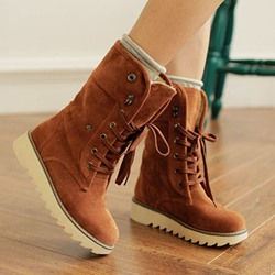 Shoespie Stylish Round Toe Lace-Up Front Plain Western Boots