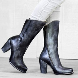 Shoespie Stylish Round Toe Plain Chunky Heel Cotton Boots