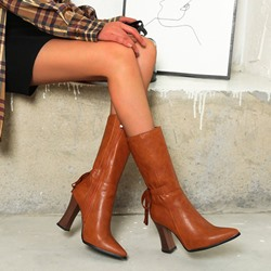 Shoespie Trendy Side Zipper Plain Pointed Toe Lace-Up Boots