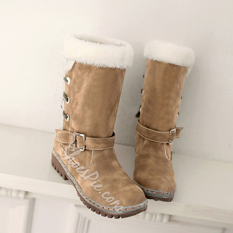 Shoespie Sexy Round Toe Block Heel Lace-Up Back Casual Boots
