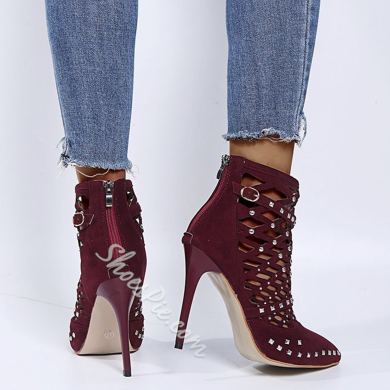 Shoespie Sexy Pointed Toe Plain Back Zip Buckle Boots
