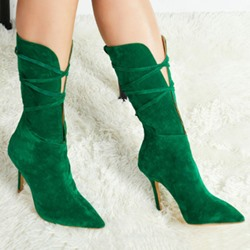 Shoespie Stylish Plain Pointed Toe Back Zip Cross Strap Boots