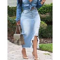 Plain Mid-Calf Bodycon High Waist Denim Women's Skirt