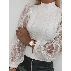 See-Through Thin Lantern Sleeve Slim Women's Sweater