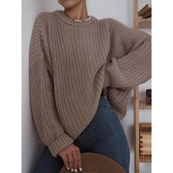 Patchwork Round Neck Loose Women's Sweater