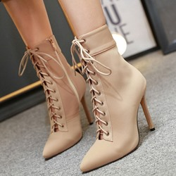 Shoespie Trendy Pointed Toe Side Zipper Stiletto Heel Simple Boots