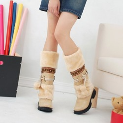Shoespie Sexy Patchwork Round Toe Slip-On Thread Boots