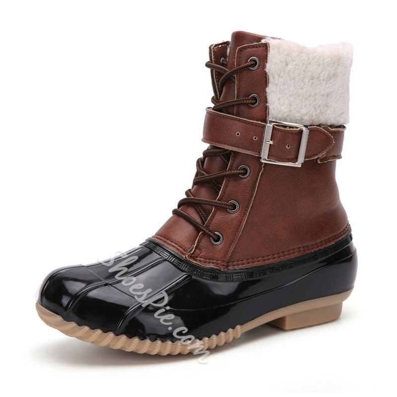 Shoespie Stylish Lace-Up Front Round Toe Patchwork Buckle Boots