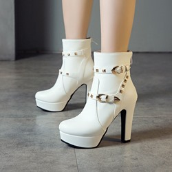 Shoespie Sexy Back Zip Chunky Heel Plain Rivet Boots