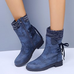 Shoespie Sexy Patchwork Block Heel Side Zipper Cross Strap Boots