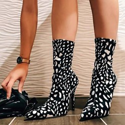 Shoespie Stylish Stiletto Heel Back Zip Pointed Toe Print Boots