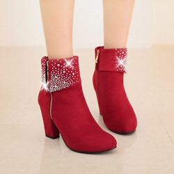 Shoespie Stylish Plain Side Zipper Chunky Heel Short Floss Boots