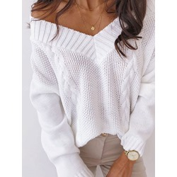 Patchwork Plain Winter Women's Sweater