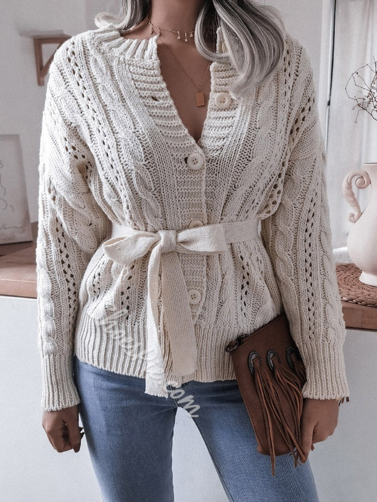 Bowknot Single-Breasted Regular Straight Women's Sweater