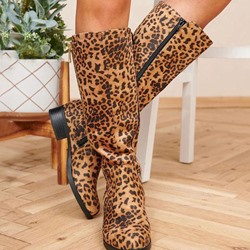 Shoespie Stylish Leopard Print Side Zipper Round Toe Cotton Boots