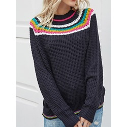 Round Neck Geometric Women's Sweater