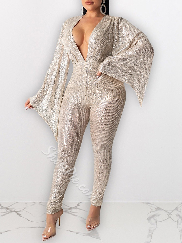 Sequins Full Length Party/Cocktail Slim Women's Jumpsuit