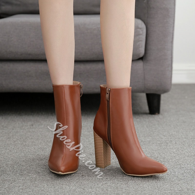 Shoespie Trendy Side Zipper Chunky Heel Pointed Toe PU Boots