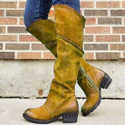 Shoespie Stylish Plain Side Zipper Round Toe Vintage Western Boots