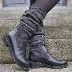 Shoespie Sexy Plain Block Heel Slip-On Beads Boots