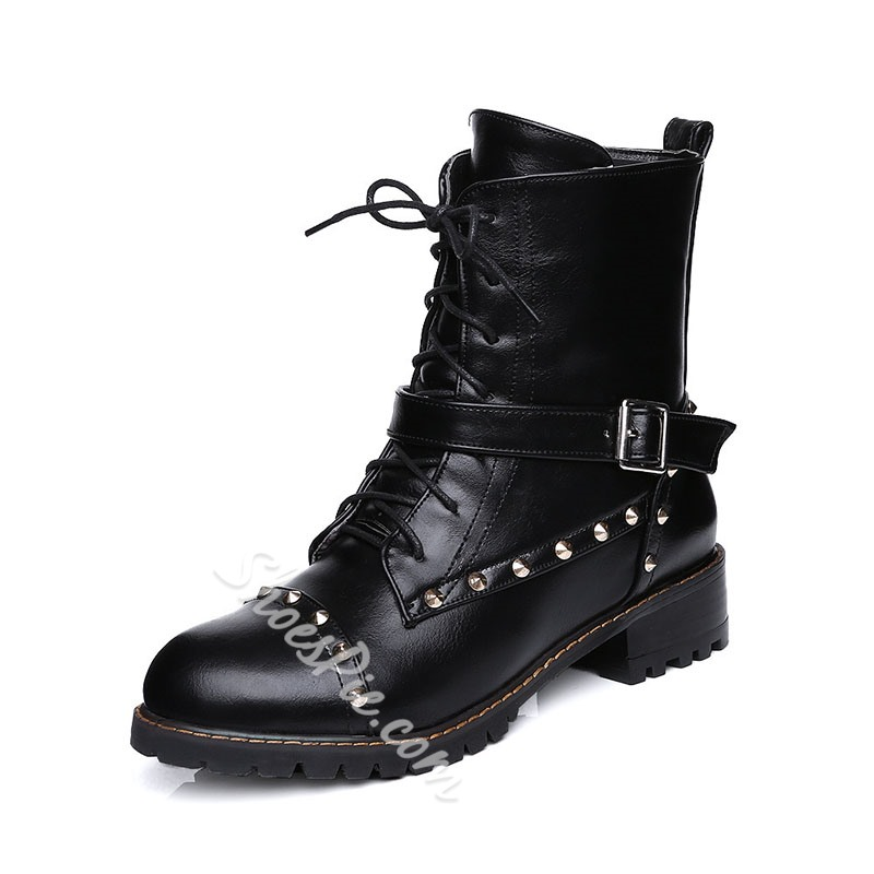 Shoespie Sexy Plain Round Toe Side Zipper Rivet Boots