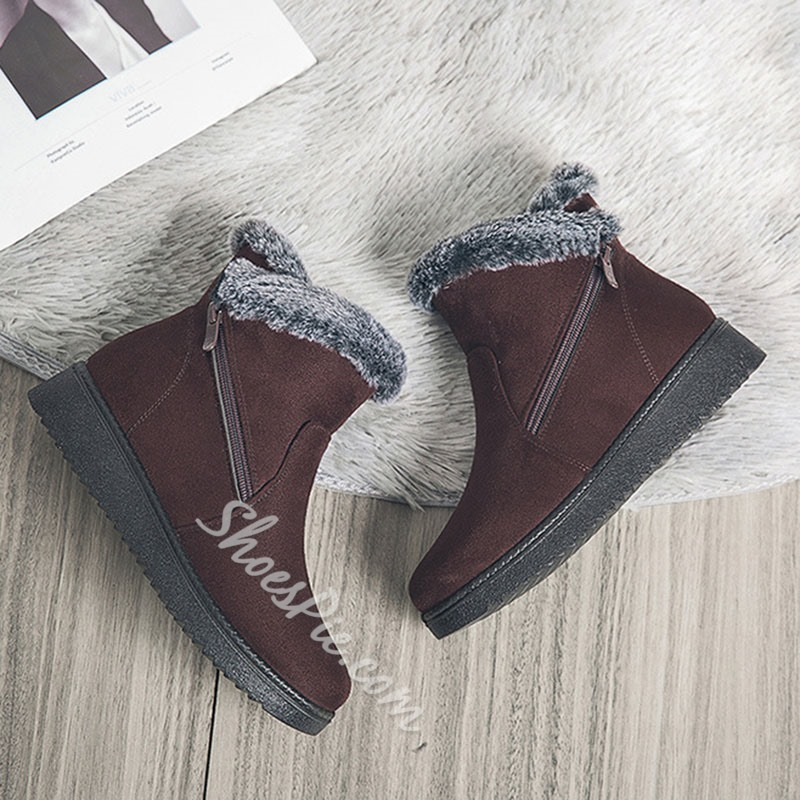 Shoespie Sexy Flat With Plain Round Toe Plush Boots
