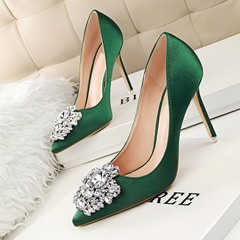 Shoespie Stylish Pointed Toe Stiletto Heel Rhinestone Low-Cut Upper Thin Shoes