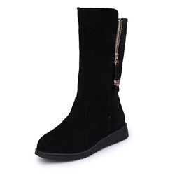 Shoespie Sexy Round Toe Plain Side Zipper Boots
