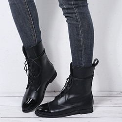 Shoespie Sexy Pointed Toe Patchwork Block Heel PU Boots