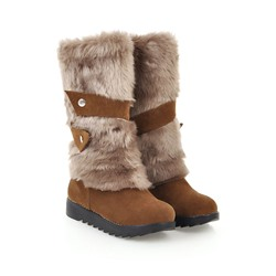 Shoespie Stylish Slip-On Round Toe Cotton Boots
