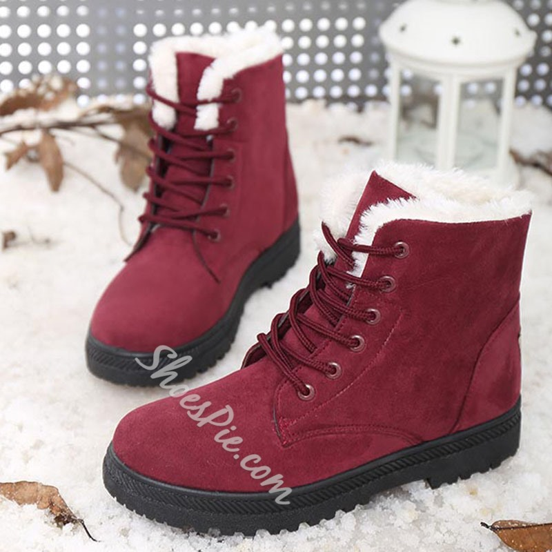 Shoespie Stylish Lace-Up Front Plain Round Toe Thread Snow Boots