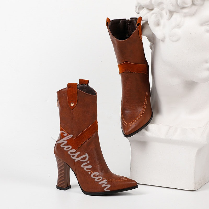 Shoespie Stylish Back Zip Patchwork Pointed Toe Western Boots