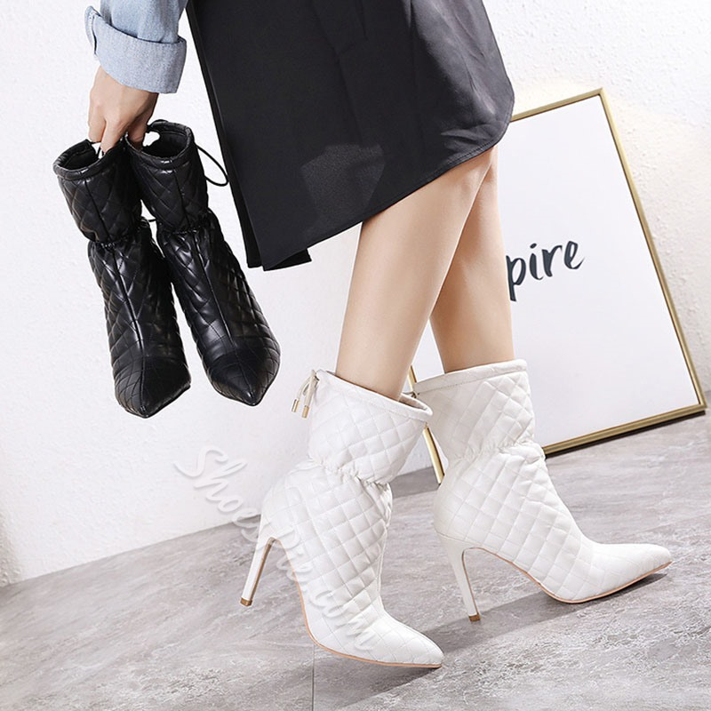 Shoespie Sexy Pointed Toe Lace-Up Back Plain PU Boots
