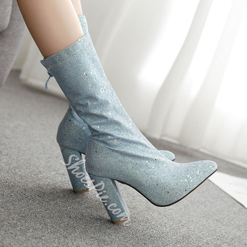 Shoespie Stylish Pointed Toe Plain Chunky Heel Western Boots