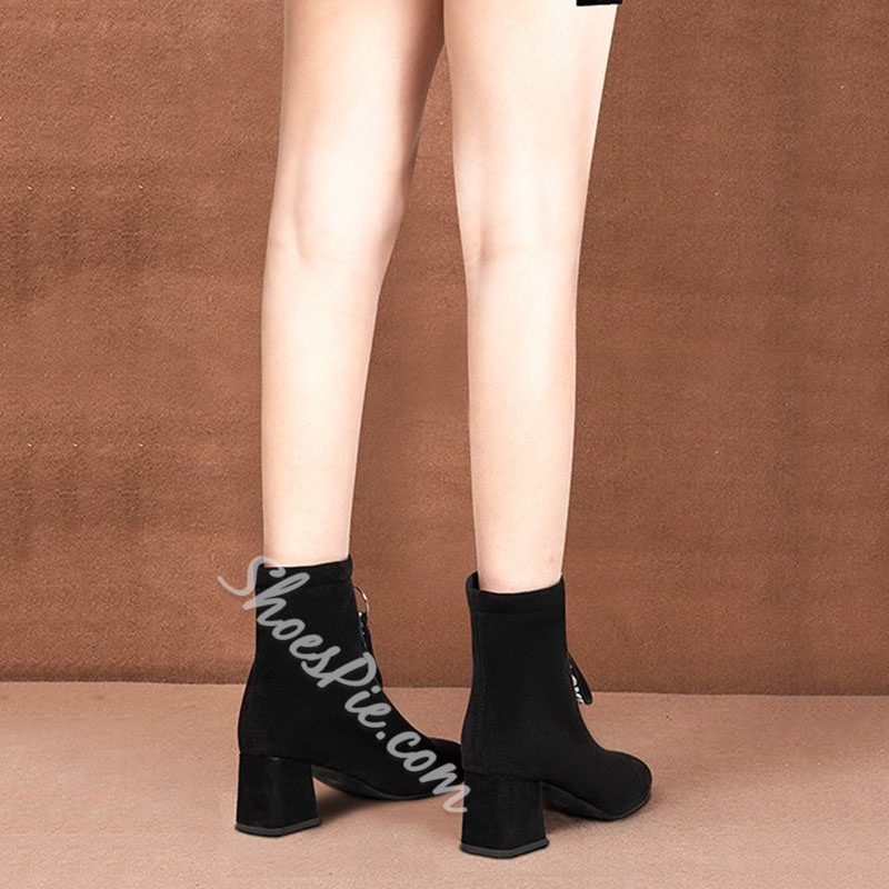 Shoespie Sexy Front Zipper Letter Round Toe Thread Boots