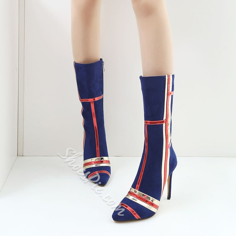 Shoespie Stylish Pointed Toe Color Block Side Zipper Casual Boots