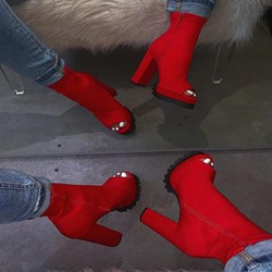 Shoespie Stylish Side Zipper Chunky Heel Peep Toe Platform Boots