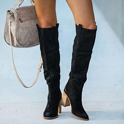 Shoespie Sexy Slip-On Pointed Toe Plain Chunky Heel Thread Boots