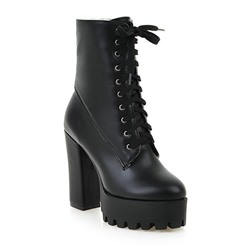 Shoespie Stylish Lace-Up Front Chunky Heel PU Round Toe Casual Boots