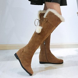 Shoespie Sexy Round Toe Side Zipper Hidden Elevator Heel Plain Casual Boots